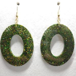 Earrings Green and Gold Glitter